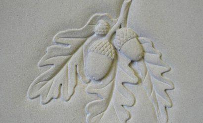 Burslem Memorials Bespoke design acorns hand carved gravestone