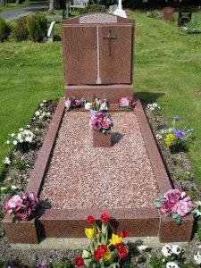 Red Granite headstone kerbs burslem