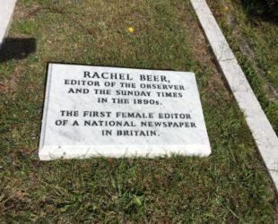 Rachel Beer memorial Burslem marble tablet Tunbridge Wells Cemetery